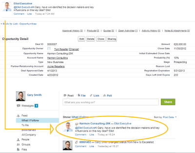 Use salesforce Chatter directly on the Opportunity.