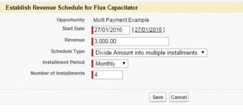 Establish initial revenue schedule on a product.