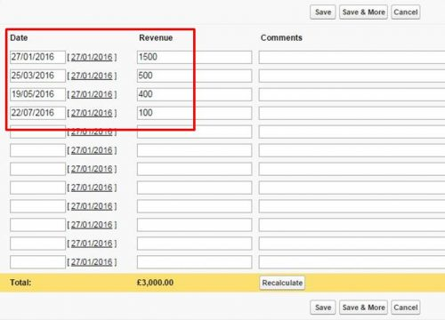Users can adjust recurring revenue schedule.
