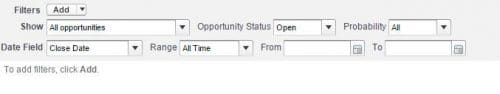 Set the basic filters in a salesforce report including Range and Opportunity Status.