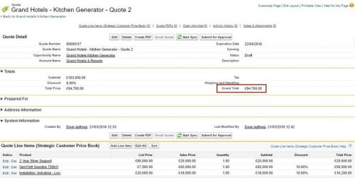 Silver contract line item added which changes the total value of the quote.