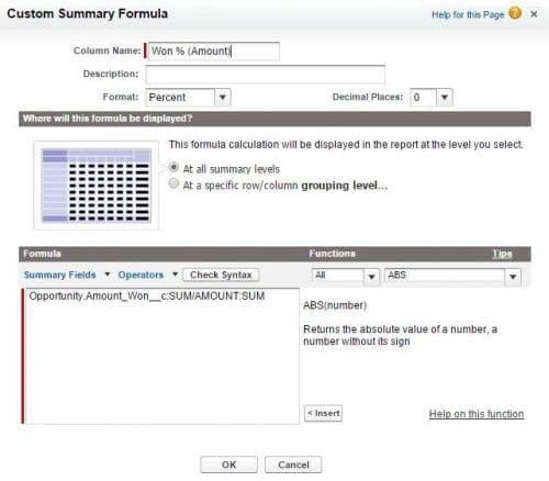Formula in salesforce report that calculates win rate by opportunity amount.