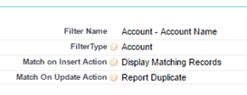 Prevent Account duplication with filter names in Dupecatcher
