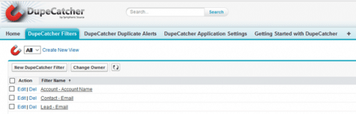 Account filters in Dupecatcher define duplication types and actions.