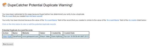 Error message when preventing duplicate accounts using Dupecatcher.