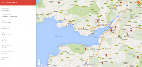 Google Map displaying salesforce data with additional information about a specific opportunity.