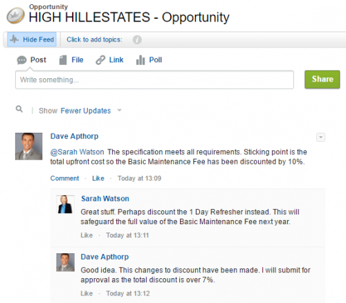 Use Chatter in salesforce to record the discussion about deals the approval process.