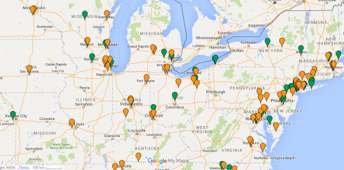 Display customers and prospects using salesforce data displayed in a google map.