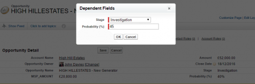 Sales people can edit the Opportunity Probability on each deal.