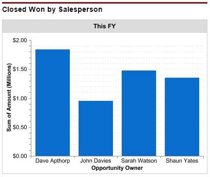 Closed won opportunity revenue per salesperson.