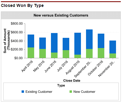 Examine closed won revenue by customer type to understand the mix between new and existing customers.