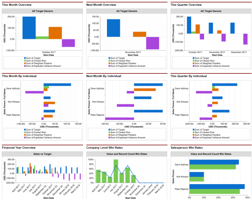 Dashboard charts summarize company and team level performance against sales targets.