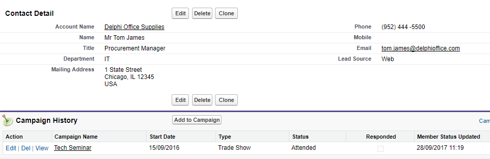 After the lead conversion, the campaign information passes to the Contact. This means you can see the campaign history on the Contact.