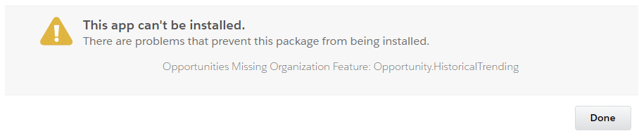 This error message when installing the GSP Sales Dashboard means historical trending is not enabled.
